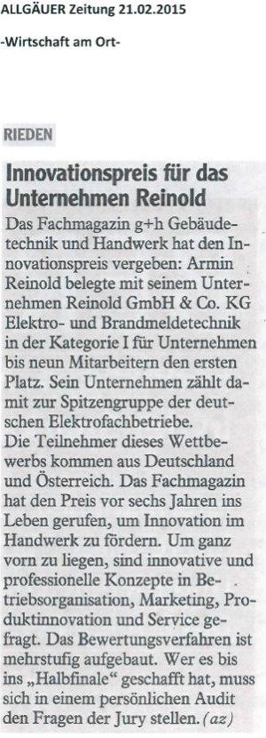 Innovationspreis für Reinold