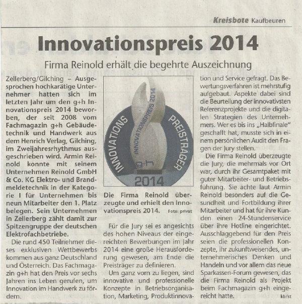 Innovationspreis 2014 für das Unternehmen Reinold